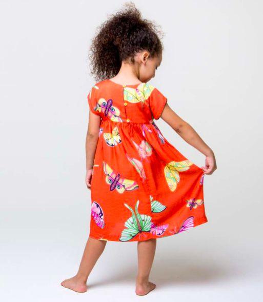 Vestido Borboletas Coral