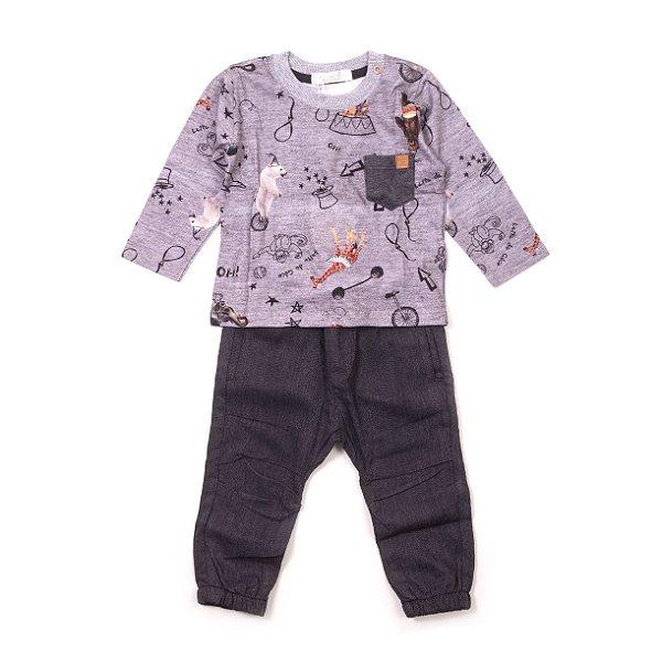 Conjunto Camisa Manga Longa + Calça Bichos