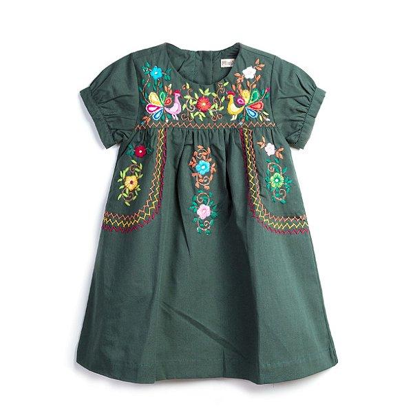 Vestido Bordado Mexicano Manga Curta Verde