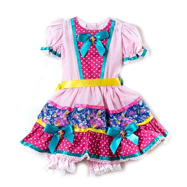 Vestido Baby Festa Junina Xadrez Floral