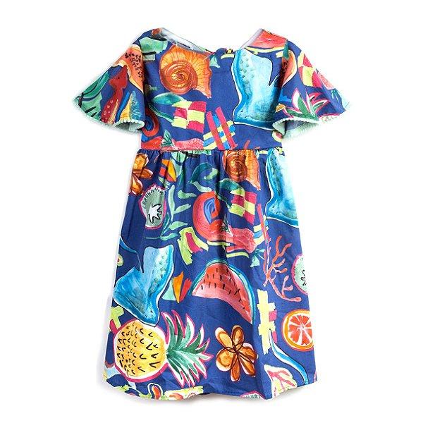 Vestido Salada de Frutas Pompom