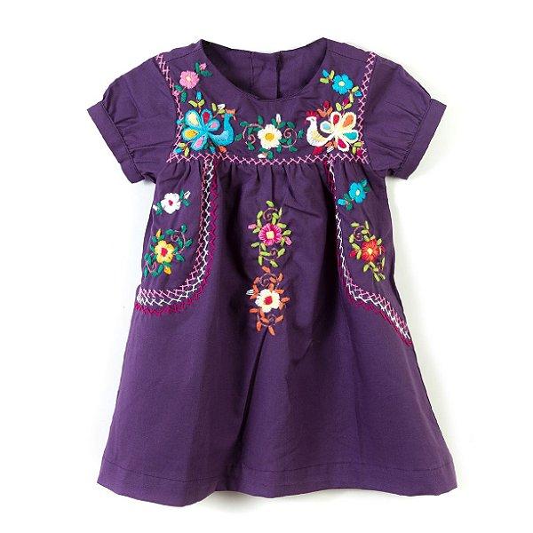 Vestido Bordado Mexicano Purple
