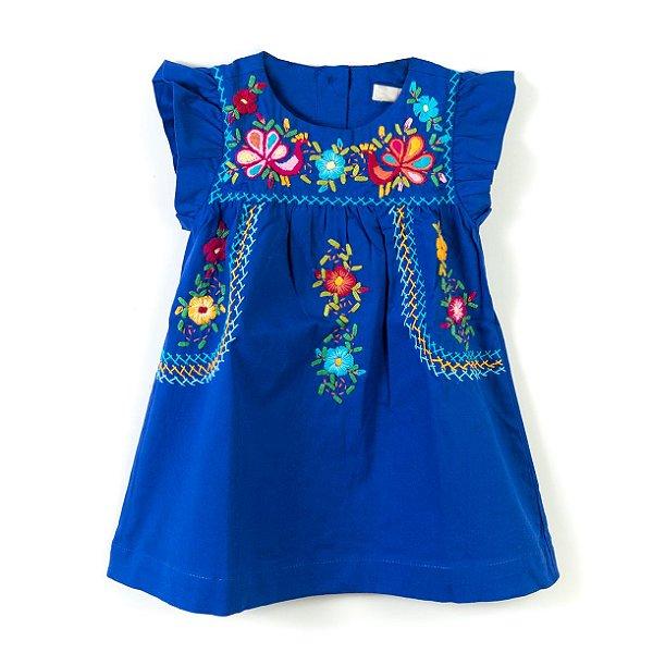 Vestido Bordado Mexicano Céu Azul