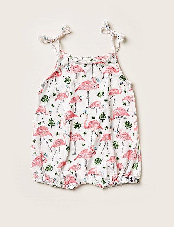 Macacão Curto Baby Flamingos