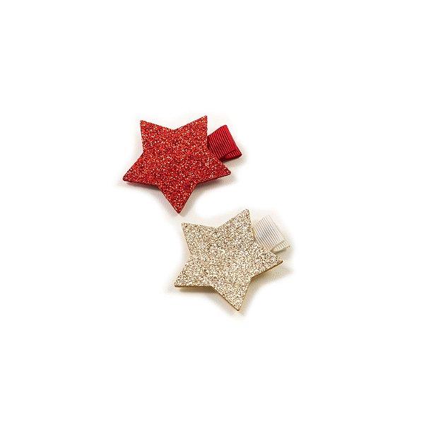 Laço Mini Stars Vermelho&Prata