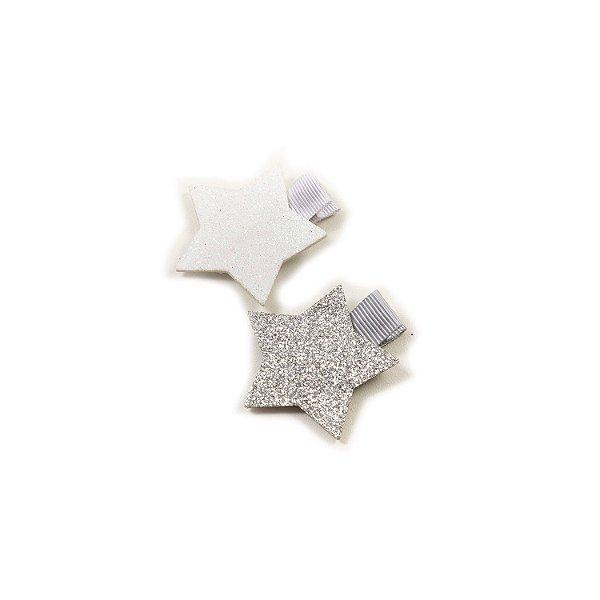 Laço Mini Stars Prata&Branco