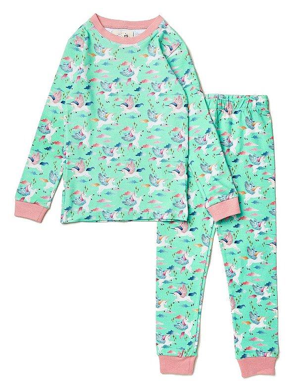 Pijama Kids Unicórnios Verde