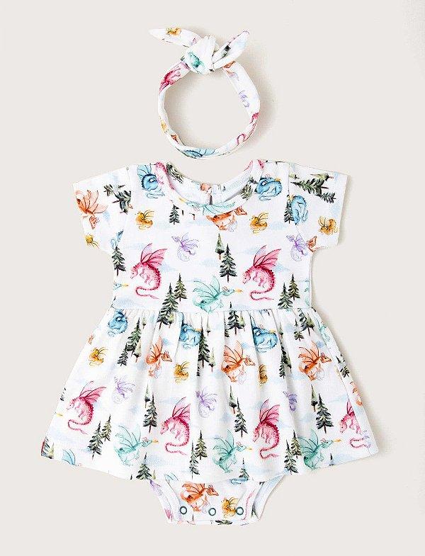 Vestido Body Baby Dragões - Offwhite