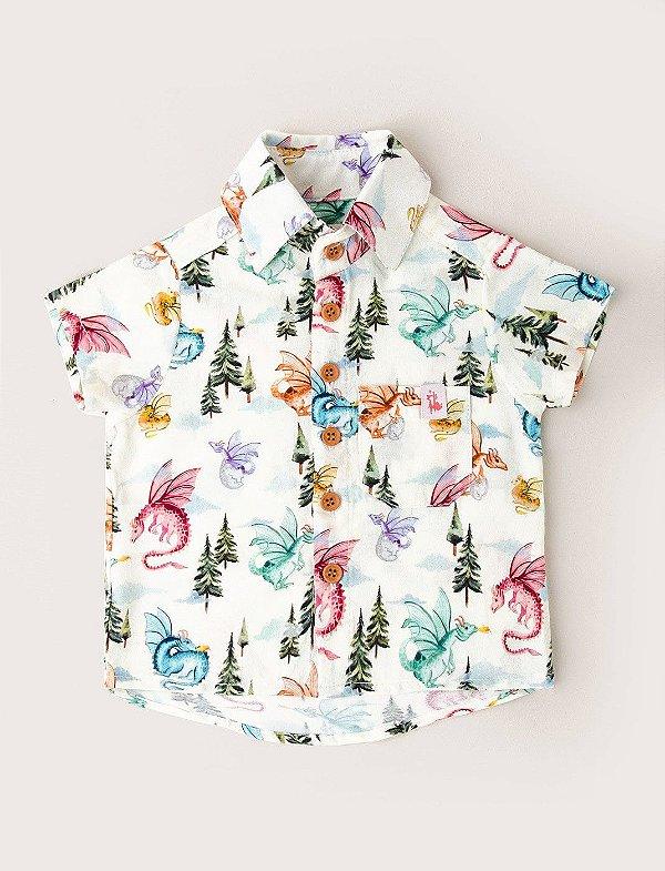 Camisa de Botãozinho Kids Dragões - Baunilha