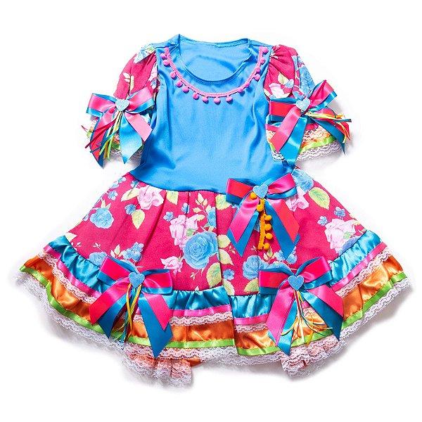 Vestido Junino Floral Pompom