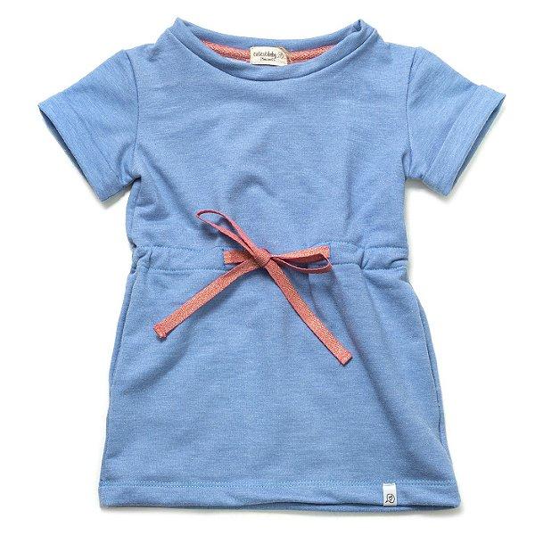Vestido Moletinho Cordão - Azul Denim