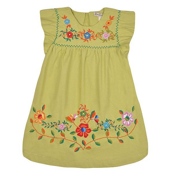 Vestido Jardim das Flores Verde Claro  Bordado a Mão