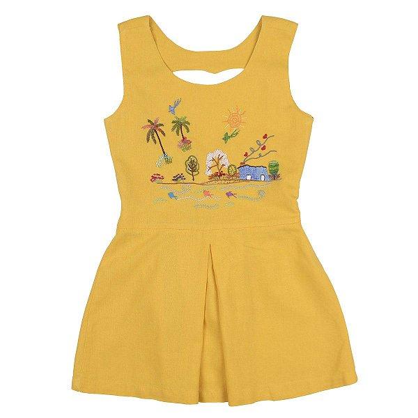 Vestido Curto Árvore da Felicidade  Bordado a Mão - Amarelo