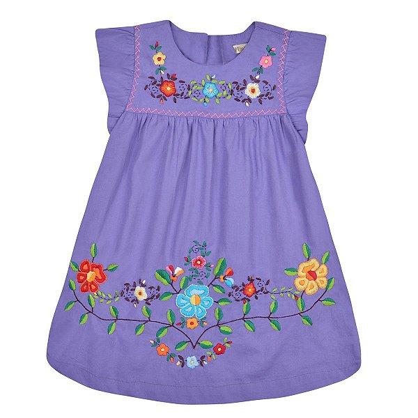 Vestido Jardim das Flores Bordado a Mão - Lilás