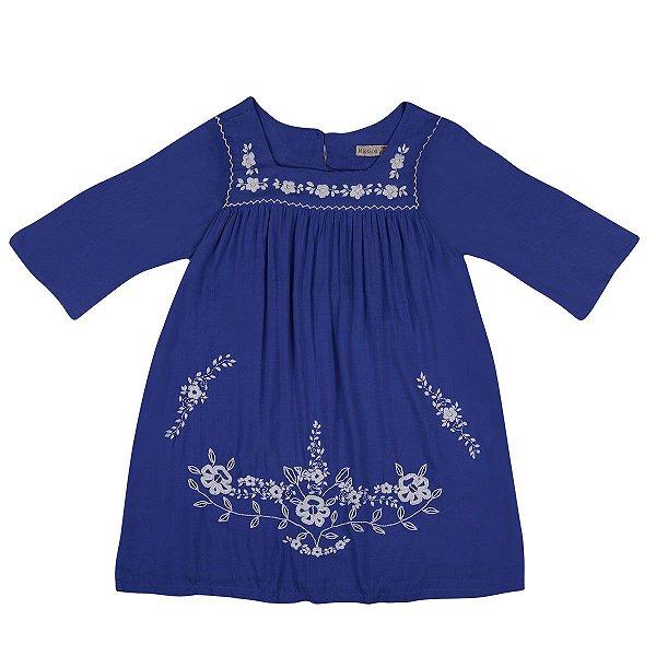 Vestido Jardim das Flores Azul Royal - Manga 3/4 Bordado a Mão