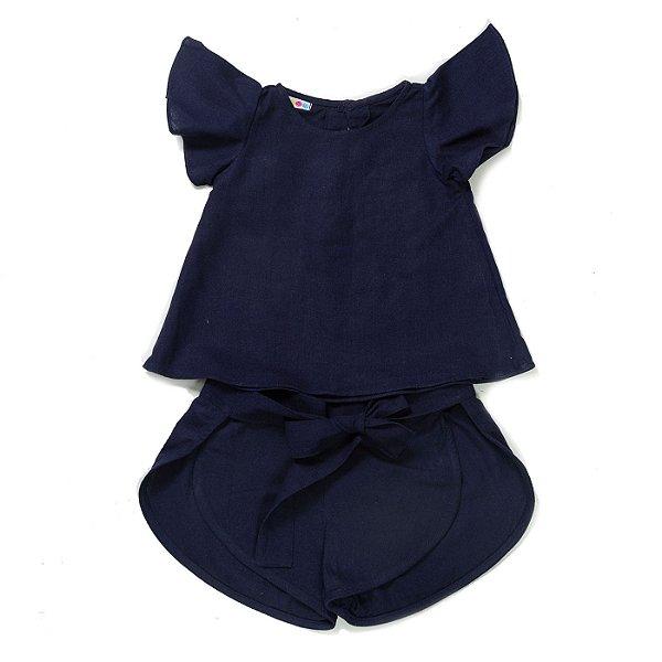 Conjunto Linho Azul Marinho - Short + Bata