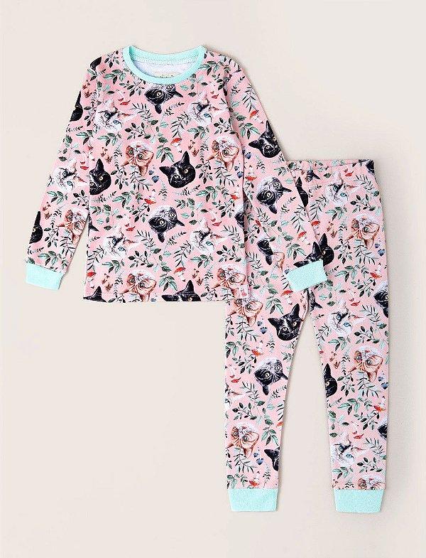 Pijama Kids Inverno Gatos