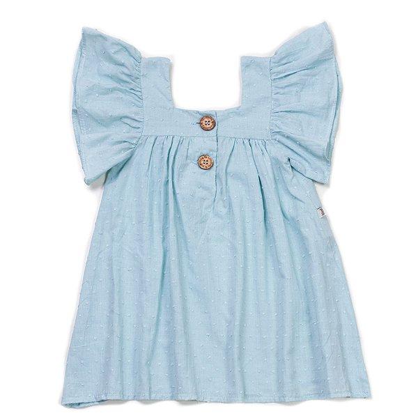 Vestido Botão Azul Céu