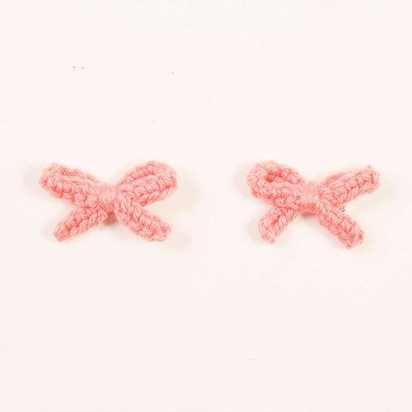 Kit Lacinho Crochet Rosa Antigo