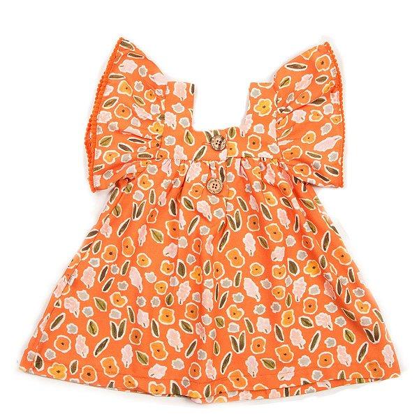 Vestido Botão Flor Aquarela