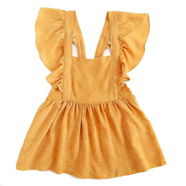 Vestido Tie Dye Jardineira Mostarda