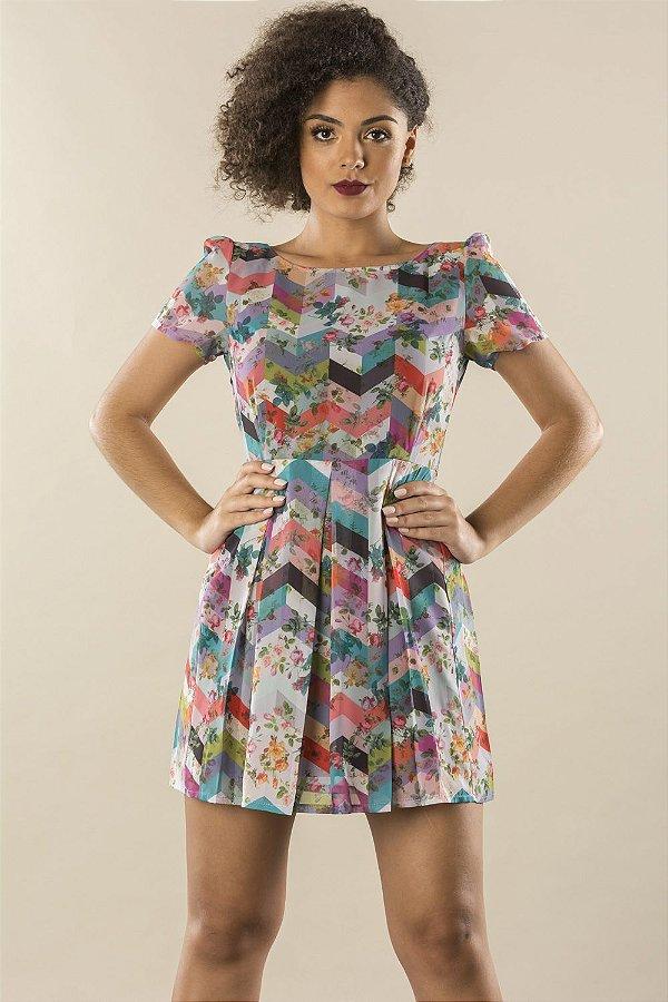 Vestido Chevron Flowers