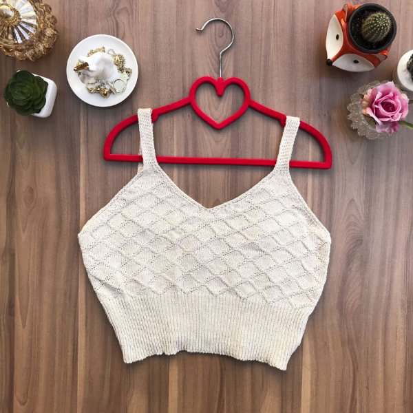 Blusa Cropped Tricot Ivory