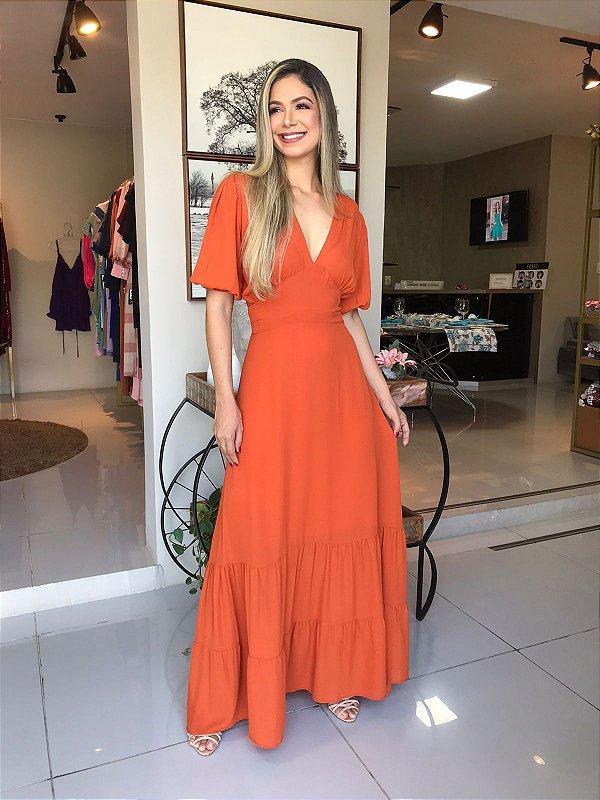 Vestido longo com mangas- Laranja