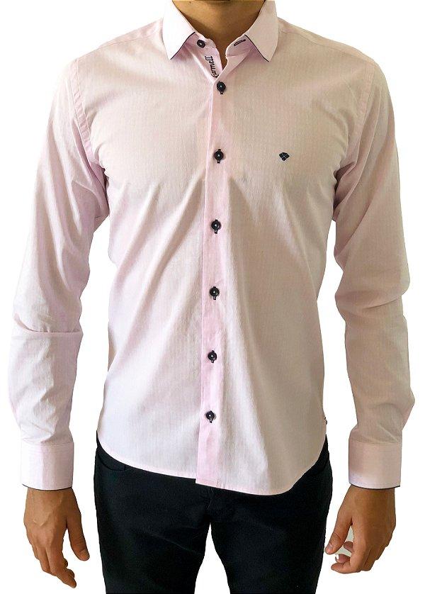 Camisa Social Slim Rosa Claro
