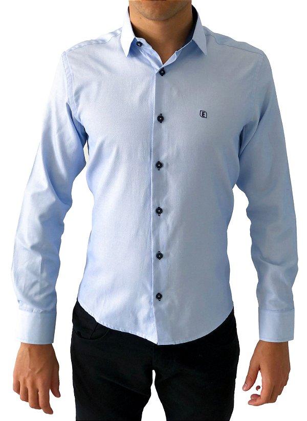 Camisa Social Slim Azul Tecido Premium