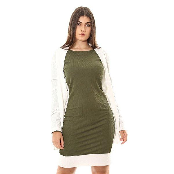 Vestido Canelado Recorte Lateral Verde e Branco
