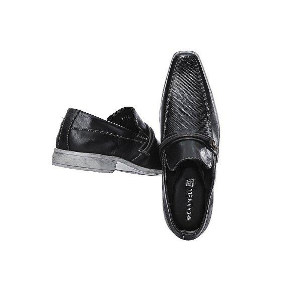 Sapato Social Karmell Preto Solado Branco