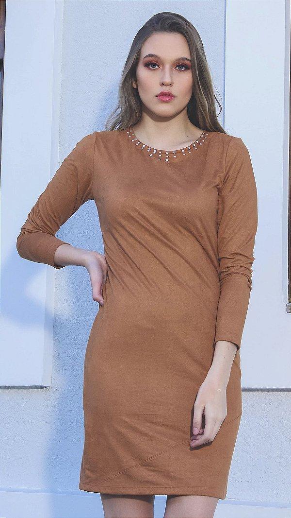 Vestido Suede Evangélico Nina Caramelo