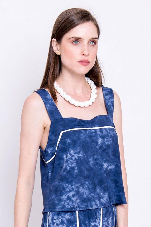 Cropped Verena Tie dye com Detalhes em Off White
