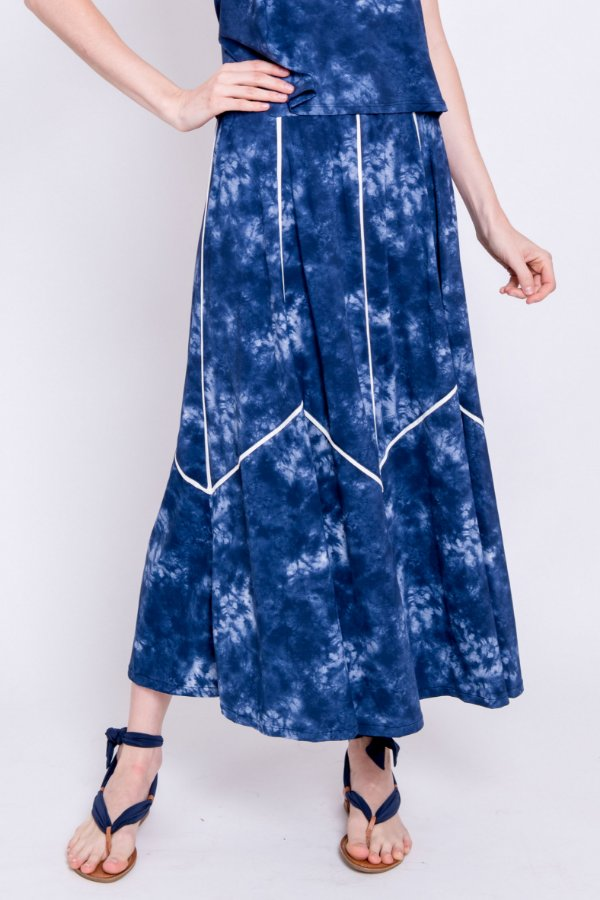 Saia Midi Valentina Tie Dye com Detalhes em Off White
