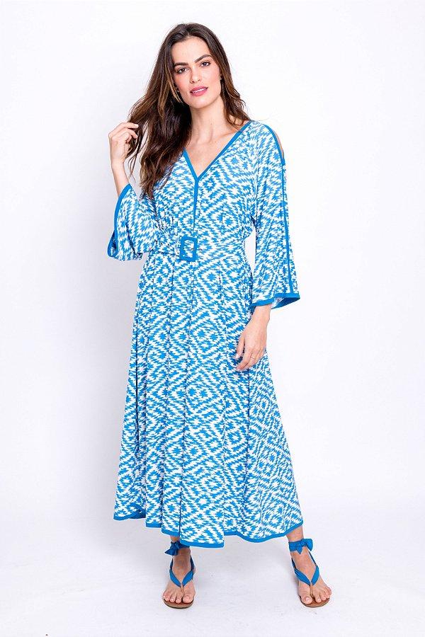 Vestido Midi Guta Ikat com Detalhes Azul Porto