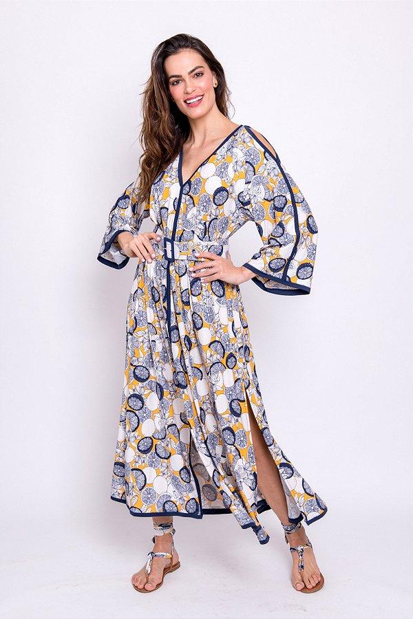 Vestido Midi Guta Lemon com Detalhes em Marinho