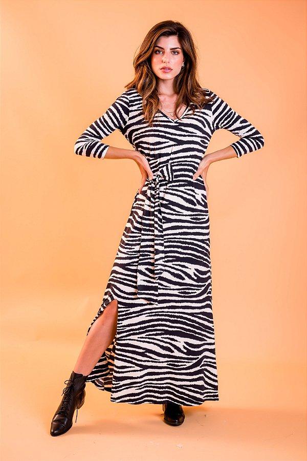 Vestido longo Alana Zebra