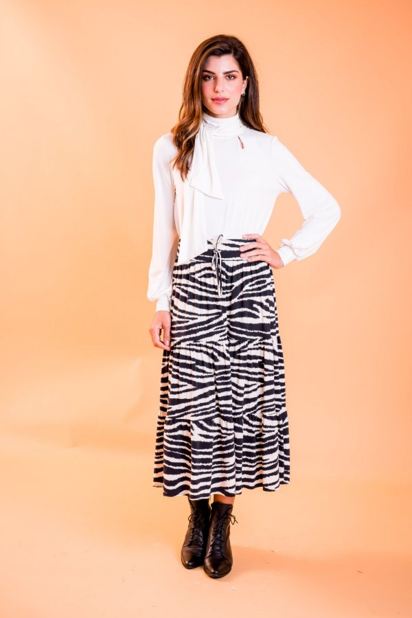 Saia Midi Jussara Zebra