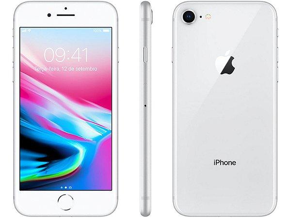 iPhone 8 Prata 64GB Novo, Desbloqueado com 1 Ano de Garantia - H5V8CFSGM