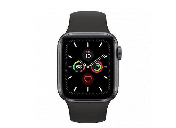 Apple Watch Serie 5 Novo, 40 mm Cinza Espacial com Pulseira Preta Esportiva: Modelo GPS - 43BB8LEPH