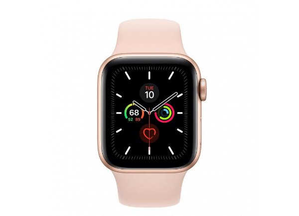 Apple Watch Serie 5 Novo, 40 mm Dourado com Pulseira Rosa Esportiva: Modelo GPS - XFTBZ86K5