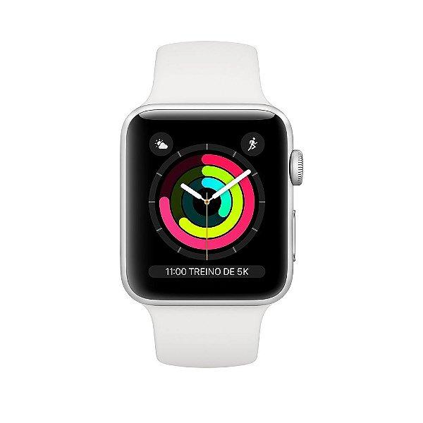 Apple Watch Serie 3 Novo, 42 mm Prata com Pulseira Branca Esportiva - BNEARRMJV