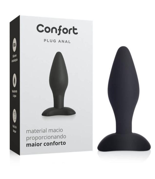 Plug Anal em Silicone Confort Médio - Preto