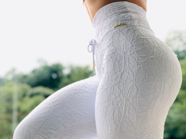 Calça Legging de Jacquard com franzido Empina Bumbum Branco