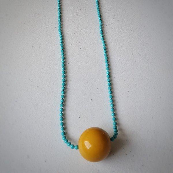 Colar de corrente de bolinha tiffany com bola amarela