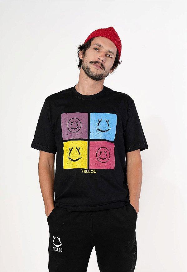 Camiseta Yellou Faces Preta