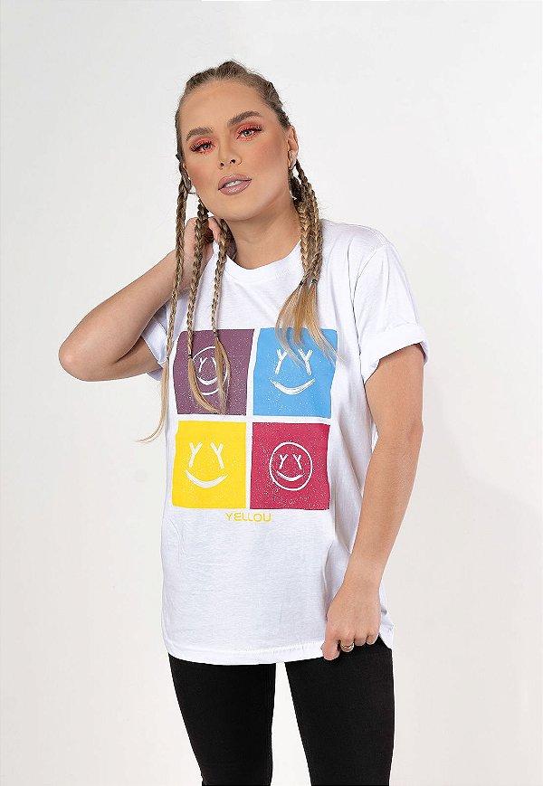 Camiseta Yellou Faces Branca