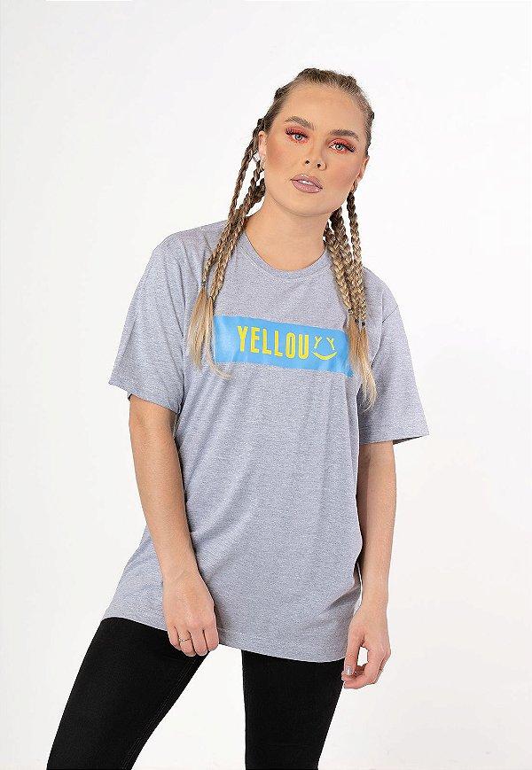 Camiseta Ret Yellou Cinza com Azul