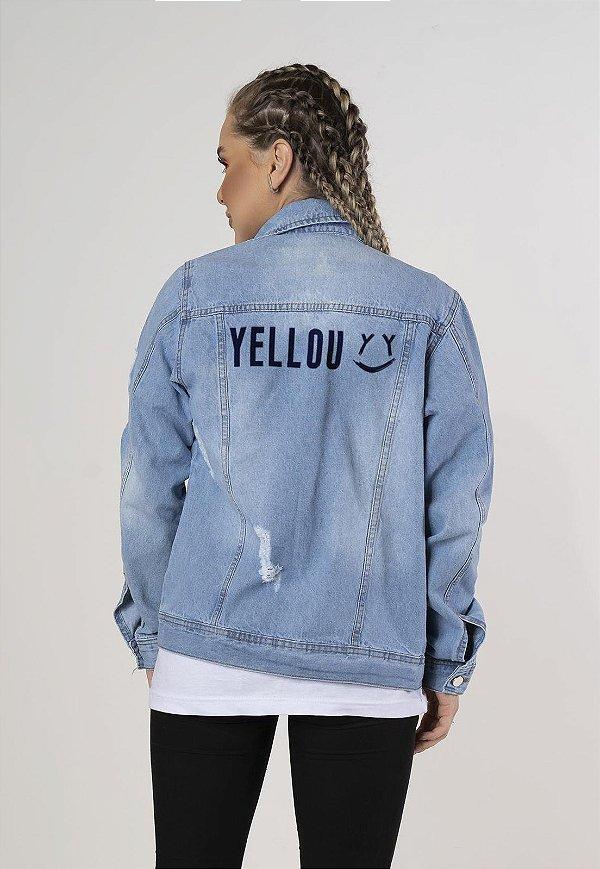 Jaqueta Jeans Unissex Destroyed Estampada Yellou Street